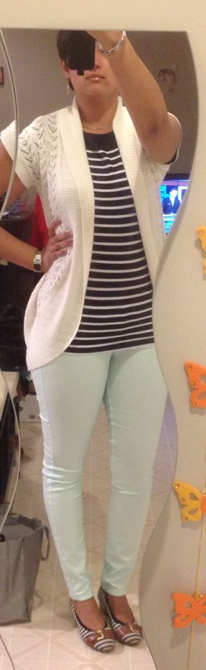 Pastell Jeans, Navi striped Tshirt H&M, white knitted sweater SuziSher, striped wedges with belt buckle detail PaylessShoes