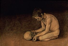 Magnus Enckell, Poika ja Pääkallo, 1893, hiilipiirrustus