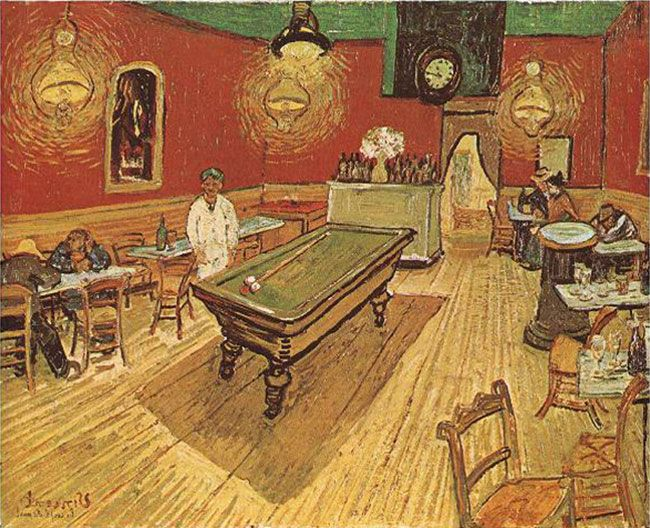 Mastering Composition With Vincent Van Gogh In This Yzed Painting Showing Secret Design Techniques A Pool Hall Mysterious Looking Guy White