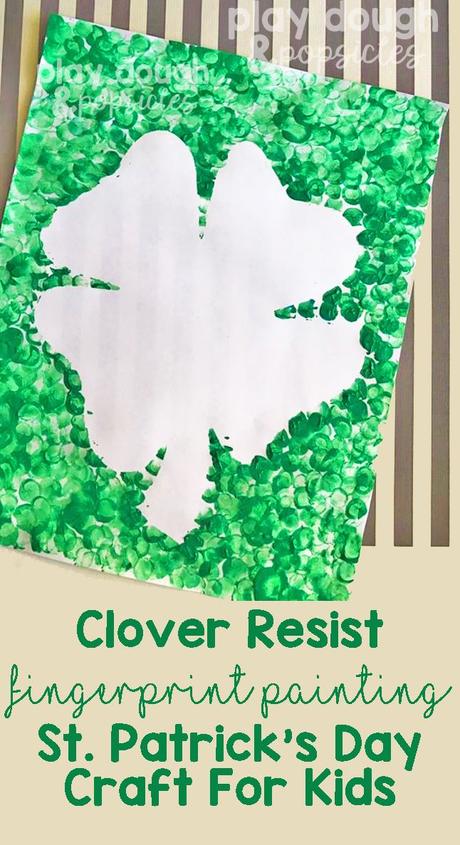 St. Patrick's Day Painting: A Fun Clover Resist Fingerprint Painting Project For Kids. Excellent for at home or in the classroom.