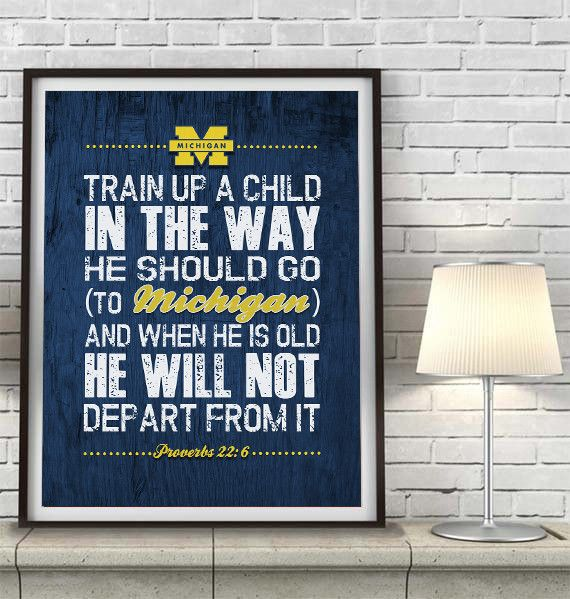 """Michigan Wolverines inspired """"Train Up A Child"""" ART PRINT, Sports Wall Decor, kids room/baby room gift, Unframed"""