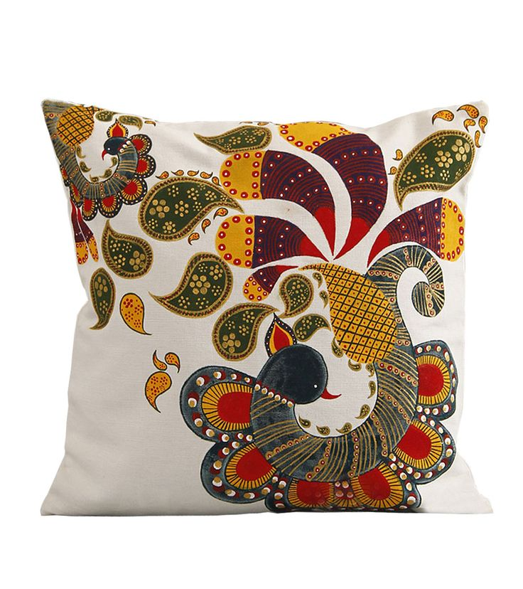 Miniature peacock white cotton hand painted #cushioncovers @ #craftshopsindia
