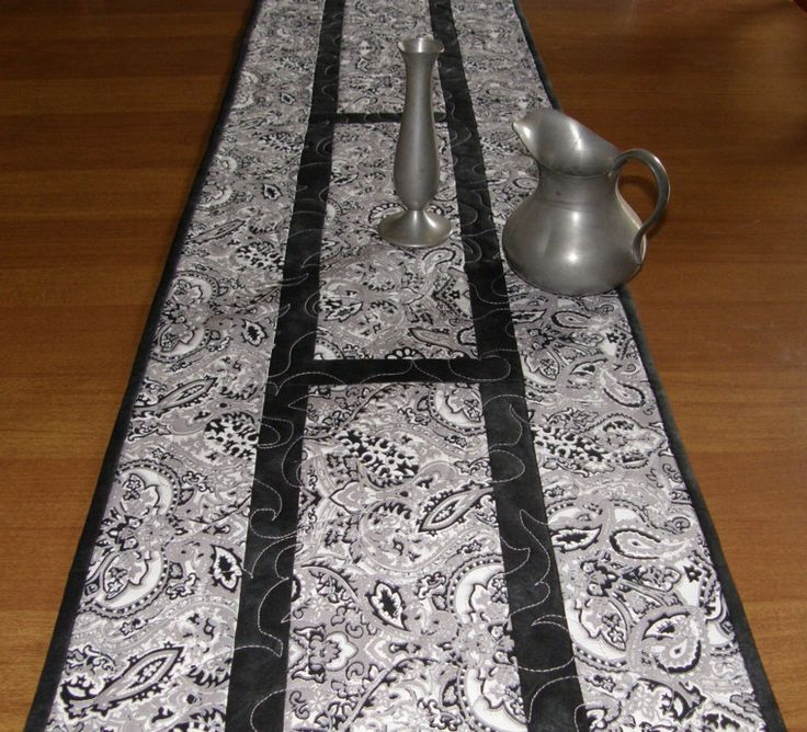 Black Silver White Quilted Table Runner,  Formal Table Runner, Contemporary Table Runner, Wedding Gift,Quiltsy Handmade, Modern Table Runner by HollysHutch on Etsy https://www.etsy.com/listing/232107559/black-silver-white-quilted-table-runner