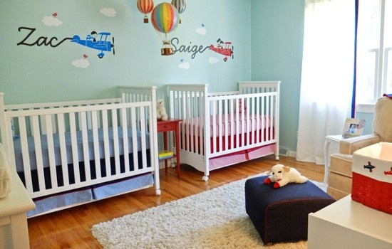 up, up and away twin nursery