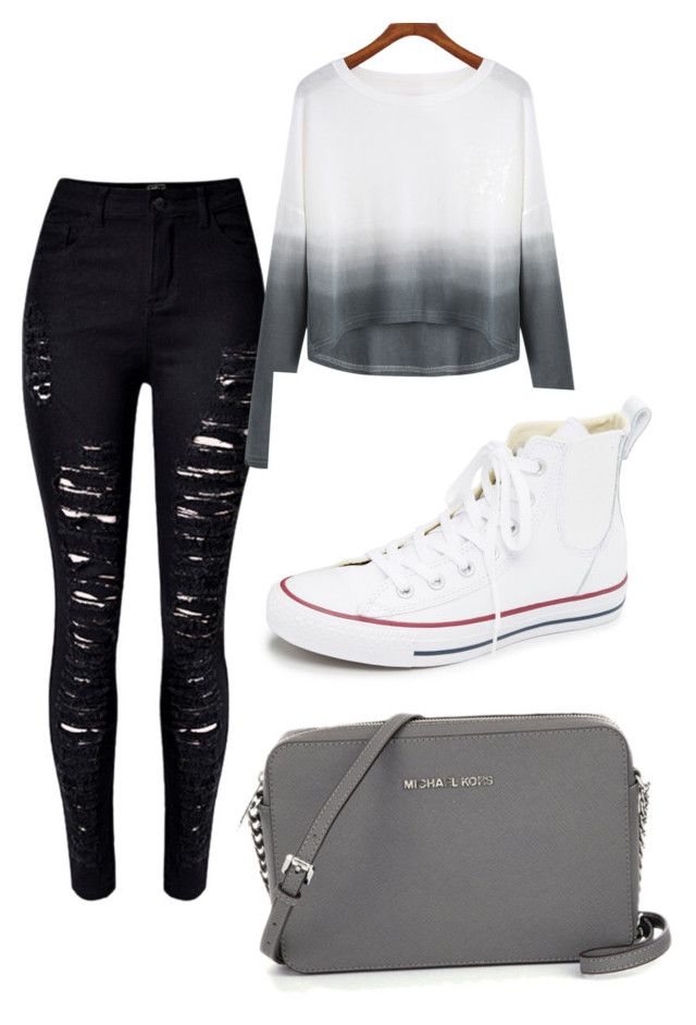 """""""classic school outfit"""" by ablanco2556 ❤ liked on Polyvore featuring Converse"""