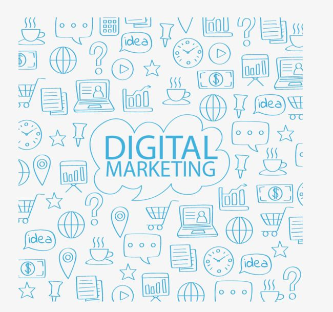 Digital Marketing Hand Painted Blue Small Icon Background Png Transparent Clipart Image And Psd File For Free Download Digital Marketing Digital Clip Art