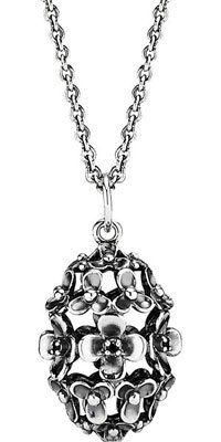 PENDANT S/S OXIDISED FLOWER BLACK C.Z SET EGG SHAPE WITH 90CM OX CHAIN - Jons Family Jewellers