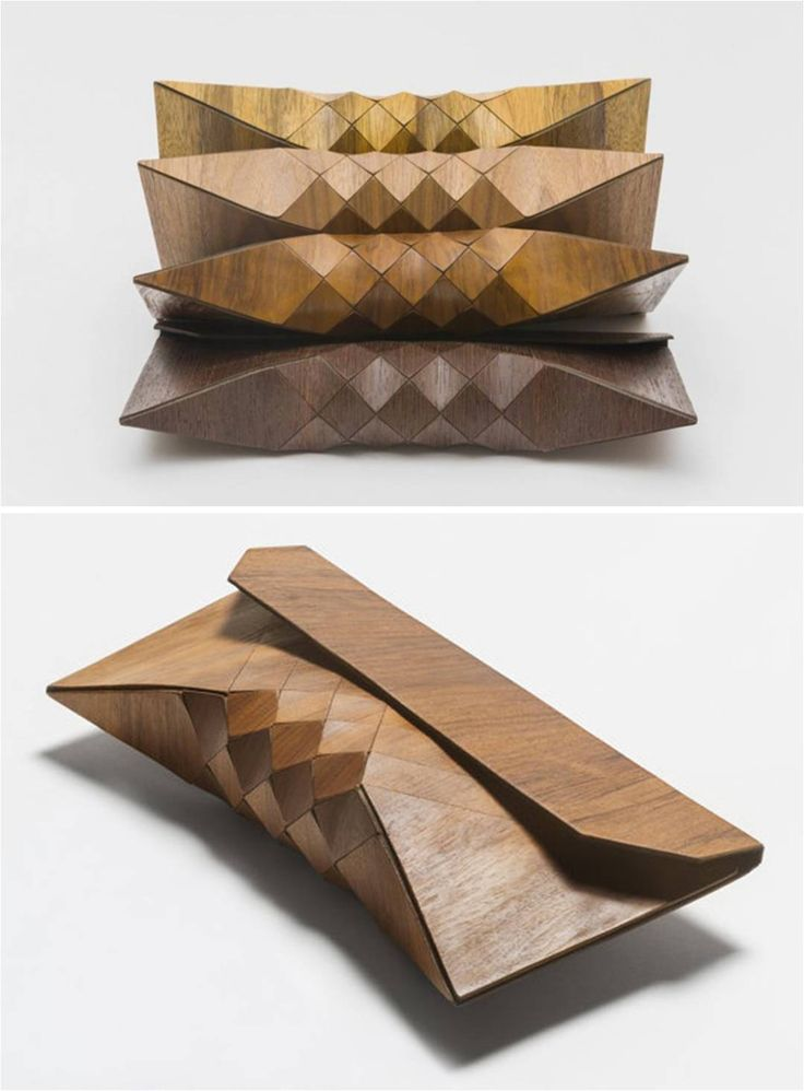 Wearable wood clutches by Israeli designers Tesler e Mendelovitch.