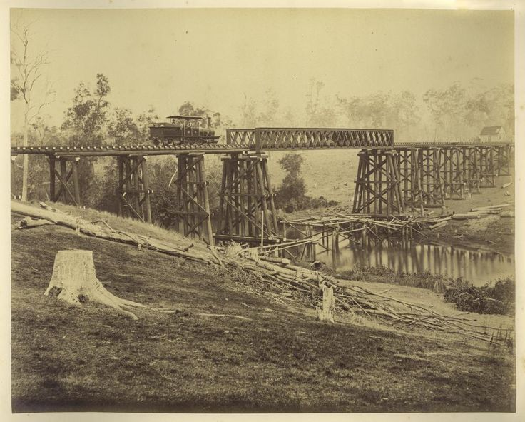 Kingaroy rail bridge Graham_Creek_west_of_Maryborough,_1882.jpg 1,000×803 pixels