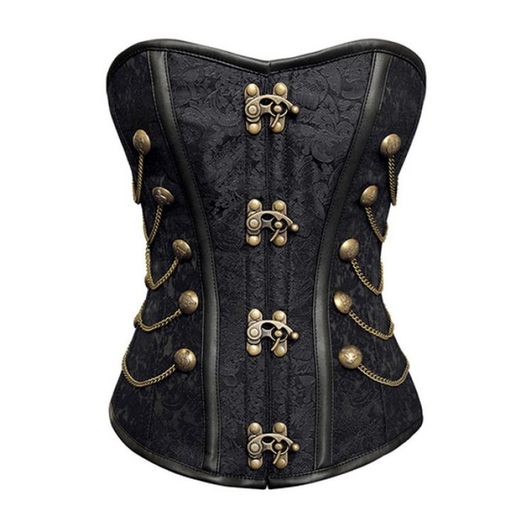 ND-002 - Black Steampunk Style Corset with Chain and Stud Detail