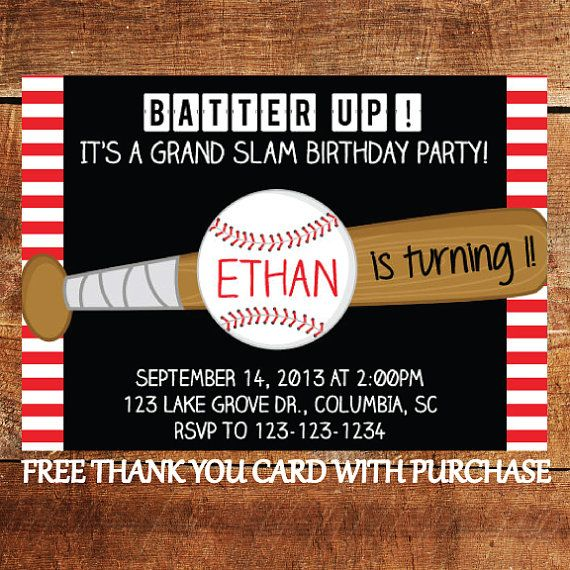Baseball Birthday Invitation - Sports Theme Birthday Invitation with FREE Thank You Card--- with 2 bats