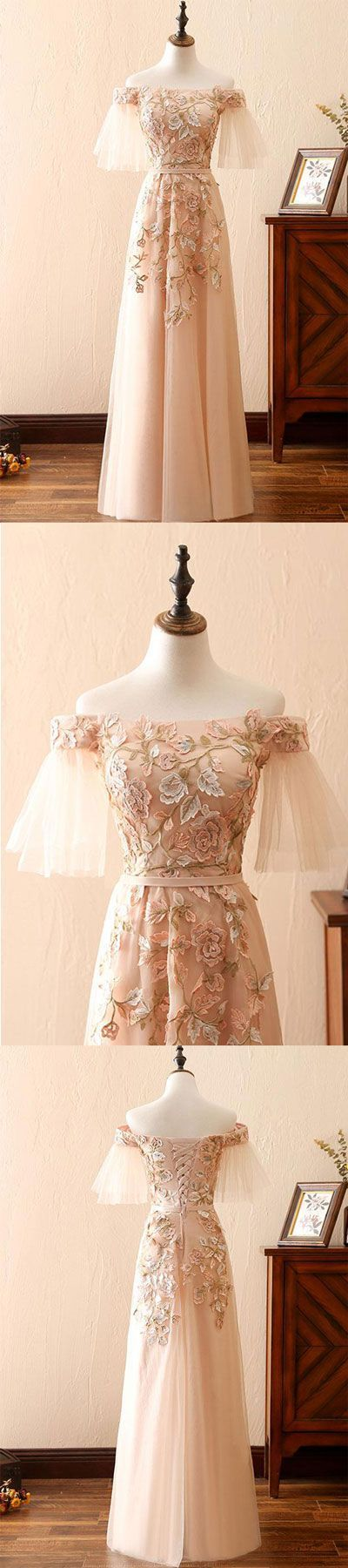 Champagne tulle long prom dress, champagne tulle lace applique evening dress #longpromdresses