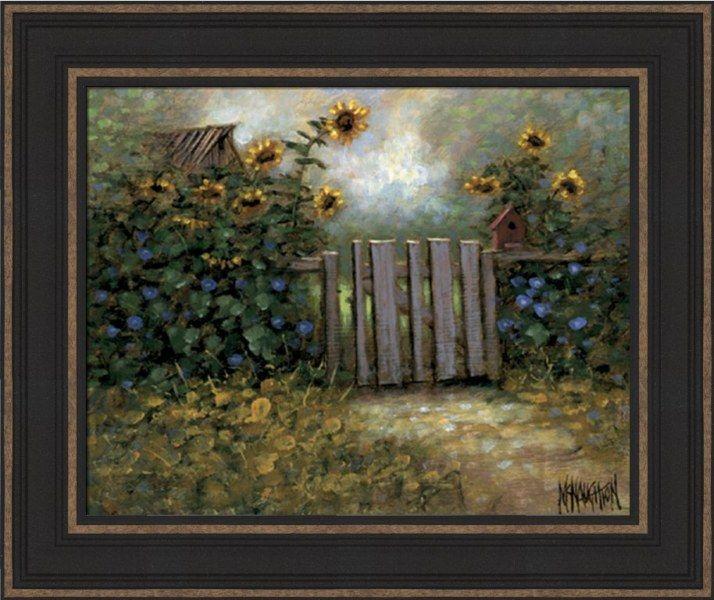 Sunflower Gate Framed Art Print Gates Sunflowers And Art