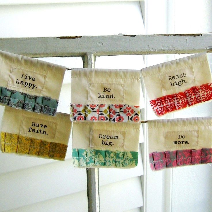 Prayer Flags, Fabric Bunting, Appliqued Flags, Fabric Pennant, Fabric Wall Hanging, Fabric Banner, Inspiration Flags, No 30