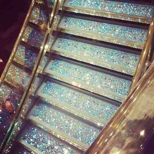 Glitter stairs in a makeup room or personal closet. Or an entire glitter floor.