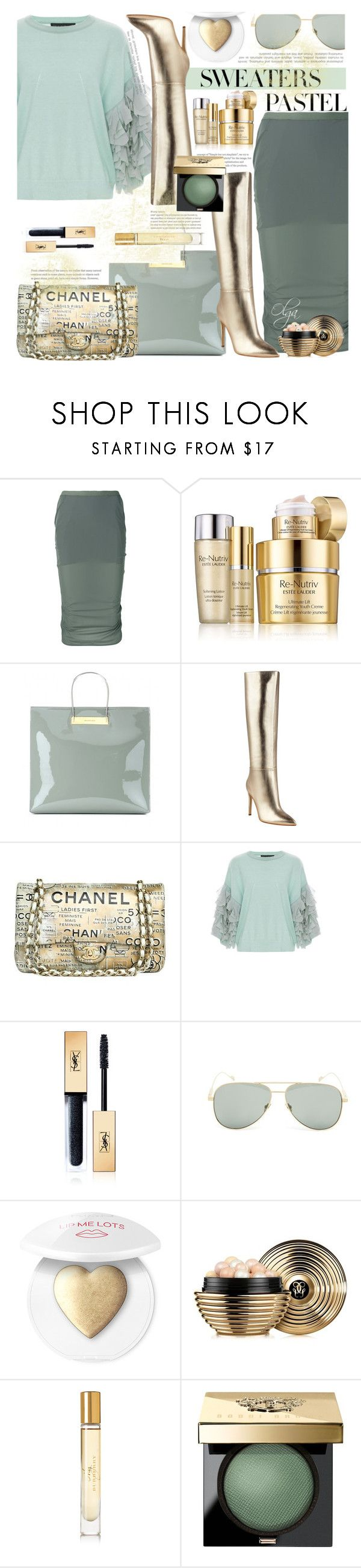 """Mint for Spring"" by olga1402 on Polyvore featuring Rick Owens, Estée Lauder, Balenciaga, GUESS, Chanel, Tabula Rasa, Yves Saint Laurent, Guerlain, Burberry and Bobbi Brown Cosmetics"