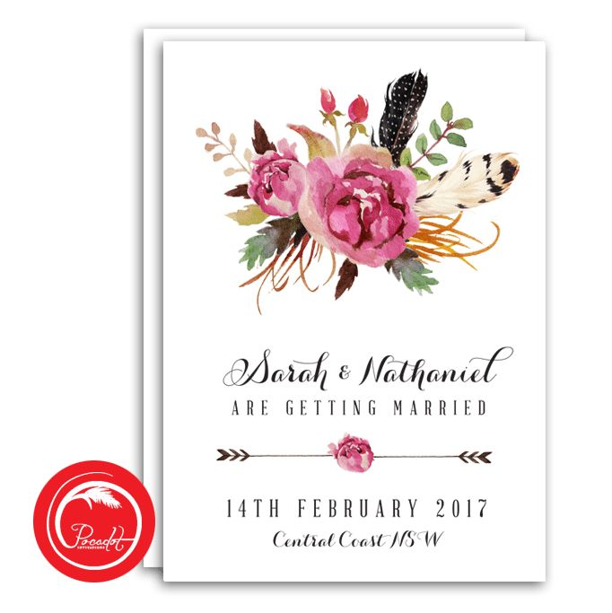 Feather and Rose Boho Save The Date