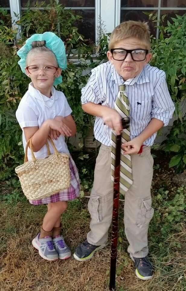 Senior Citizens Day, old people costume, old couple costume, dress up elderly