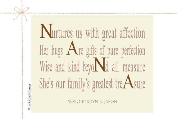 Nana Gifts Nana Decor Personalized Nana Gifts by LarkRoadRhymes