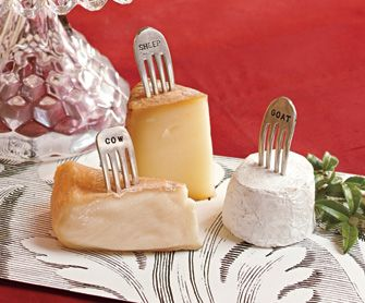 these would most certainly get use at my house; though I want one that says cotswald, cause i will always want that cheese on a cheese plate :: Vintage Silver Fork Cheese Markers: Know your cheese! Made from vintage forks, hammered and polished. #Party #Cheese_Markers