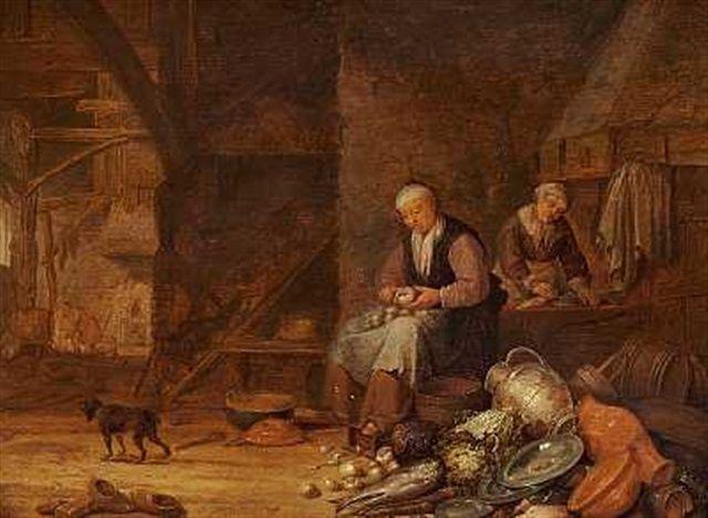 Paulus Potter - Keukeninterieur met twee vrouwen