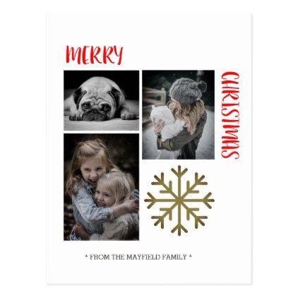 Merry Christmas photo template card - merry christmas postcards postal family xmas card holidays diy personalize