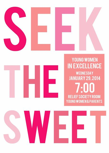 Young Women's in Excellence Seek the Sweet themed free download invites #youngwomens