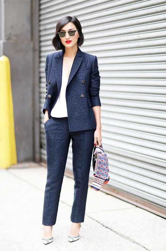 A subtle leopard print two-piece suit.