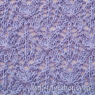 Totally beautiful floral knitted lace pattern. Caramel Lace Pattern, knitting pattern chart, Eyelet and Lace Stitch Patterns. From Knit-together.com