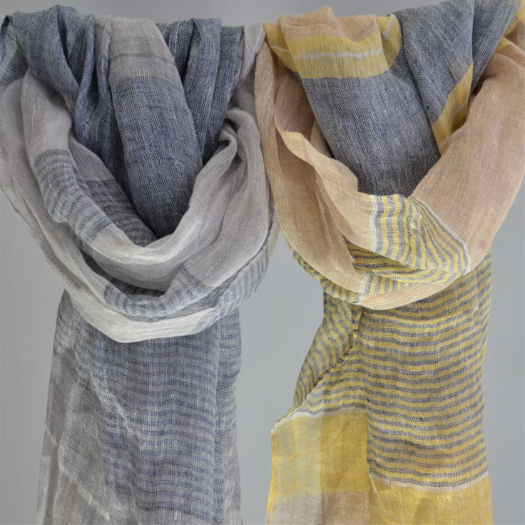 100% French Linen Soft Striped Scarf