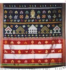 Kasuti motifs seen on the pallu or cross border of an Ilkal sari. Shaivite iconography is noticeably dominant in kasuti motifs.