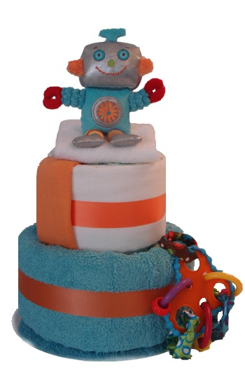 Robot Man Two Tier Nappy Cake    $70.00  15 Huggies newborn nappies  1 bath towel  1 soft robot toy with rattle  1 hoopla teether scrunchy toy  1 newborn singlet  1 white muslin wrap  1 face washer