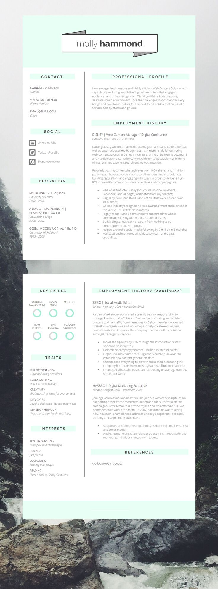 Epic 2 Page CV Template Resume
