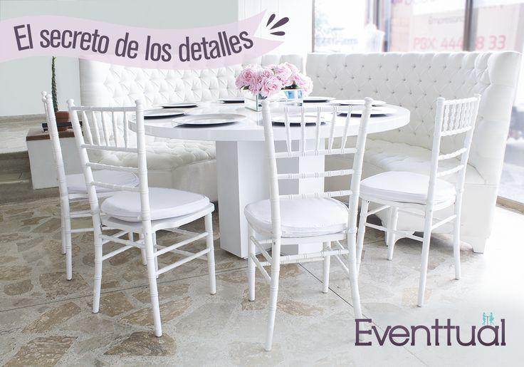 El secreto de tu fiesta estará en el cuidado que tengas con los detalles, en Eventtual tenemos no solo el mobiliario, contamos con un amplio inventario de complementos que sumados a nuestra asesoría. auguran el éxito del evento.