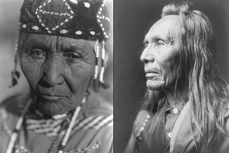 Left: Wife of Modoc Henry, Klamath tribe, on June 30, 1923. Right: Three Eagles, Nez Perce, ca. 1910 (Library of Congress/Edward S. Curtis)