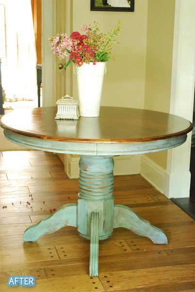 Anyone need a new pedestal table? I have one of these in my garage waiting for a redo. I think it would look great with an ivory or black distressed base, though I do think this aqua is charming.