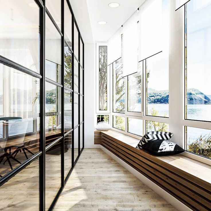 Балкончик с французскими окнами #designinterior»