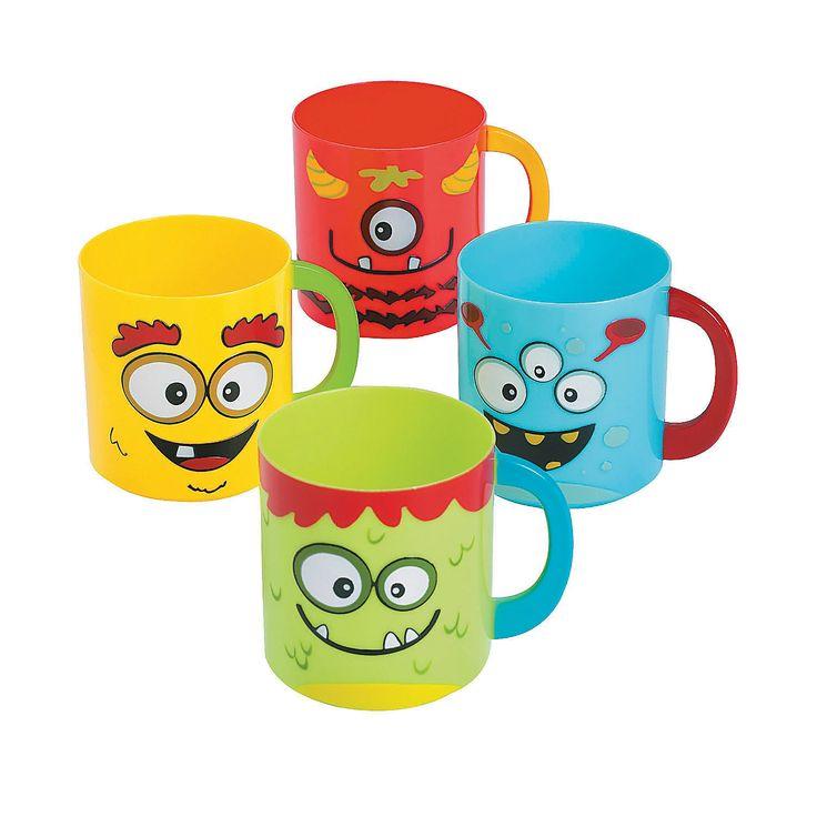 Mini Monster Plastic Mugs - OrientalTrading.com