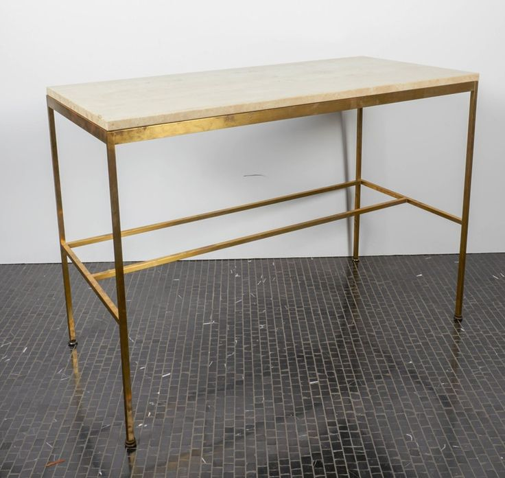 Paul McCobb Travertine And Brass Console Table, Manufactured By Calvin |  From A Unique Collection