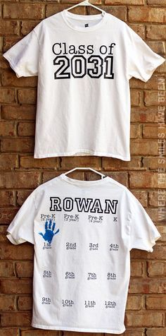 What a cute idea for yearly keepsake photos before the first day of school!  Yearly Back-to-School Shirt with Handprints for Every Grade!   Where The Smiles Have Been