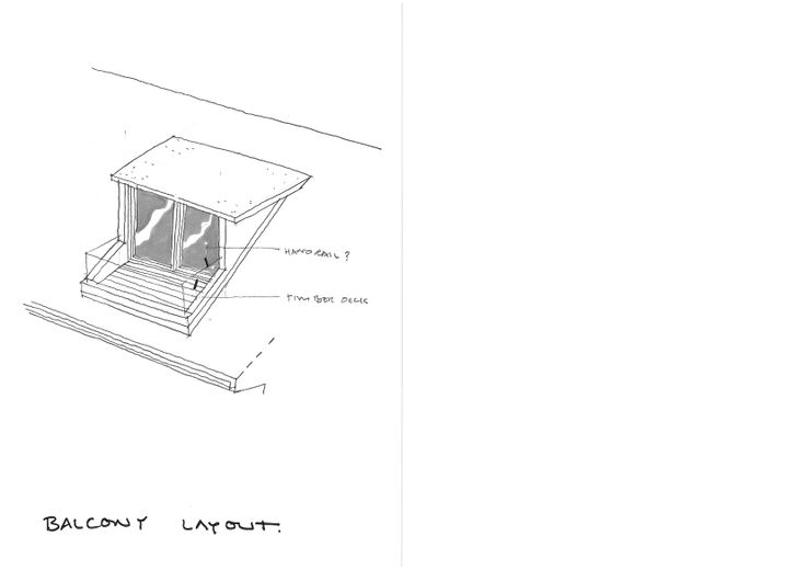 sketch proposal for a dormer window with balcony.