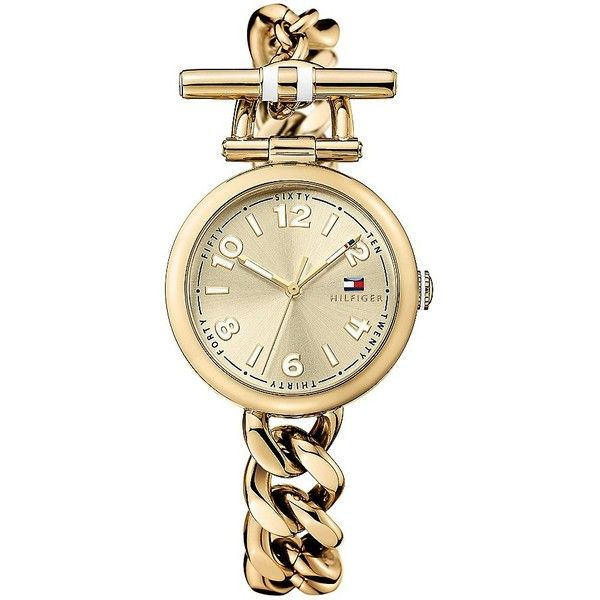 Tommy Hilfiger Gold Chain Link Bracelet Watch and other apparel, accessories and trends. Browse and shop related looks.
