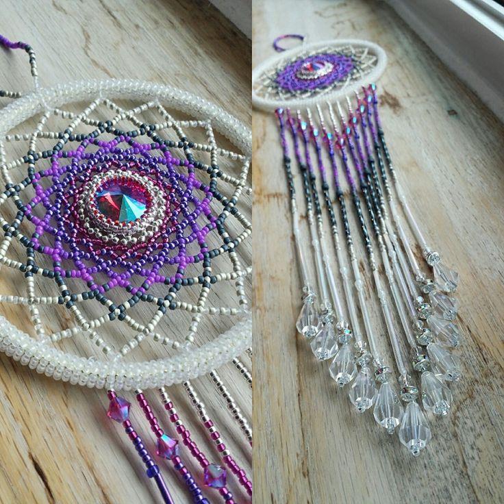 White, fuschia, purple large beaded suncatcher by BeadingsbyBarb