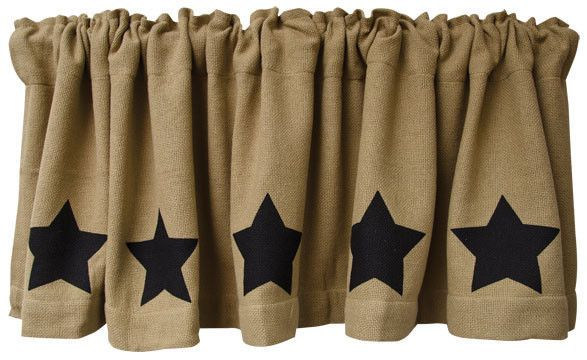 New Primitive Country Farmhouse BLACK STAR BURLAP Curtain Window Valance #VHC #Country