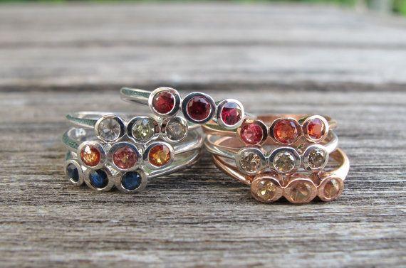 Green Sapphire Rings- Sapphire Rings-Three Stone Rings-Anniversary Rings-September Birthstone Rings-Light Green Sapphire Rings-Sapphire Ring on Etsy, $118.99