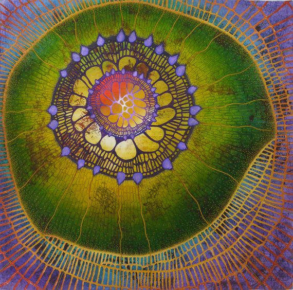 Art Quilt by Betty Busby ~ The growing tip of a plant is called a primordium. In this quilted wall hanging I wanted to give the impression of life on a cellular level. The body of the piece is composed of pure hand painted silk overlain with non woven materials.