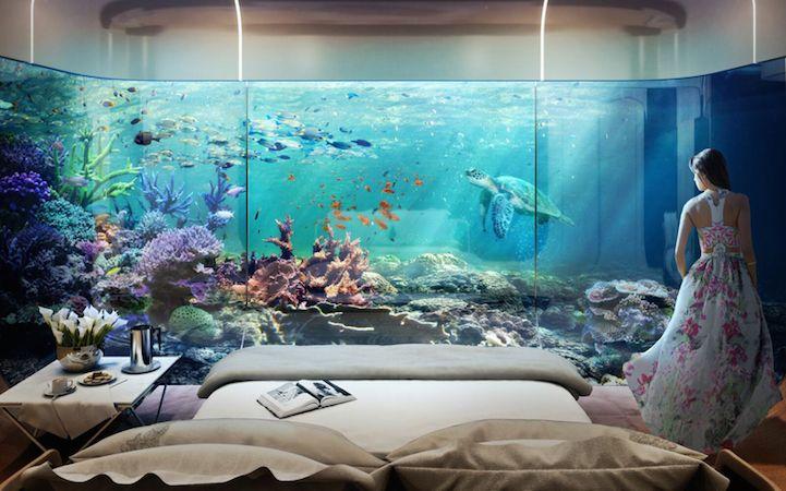 Het aquatische jacht van de toekomst, een huis/boot met onderwater kamer