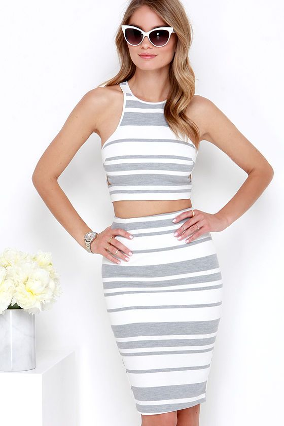 Ivory and Grey Striped Two-Piece Dress