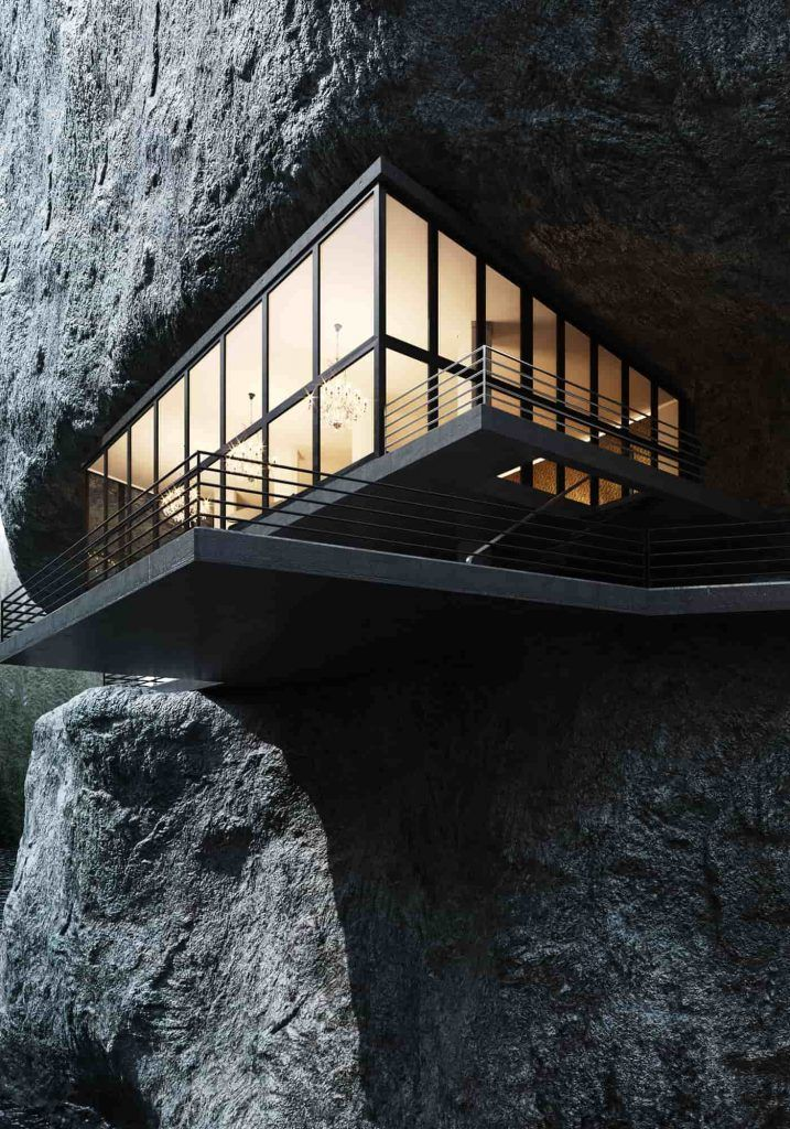 Designer Created This Cool Rock Mountain Home Concept