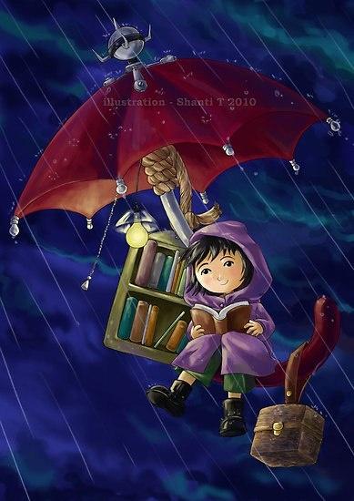 чтение под зонтиком картинки
